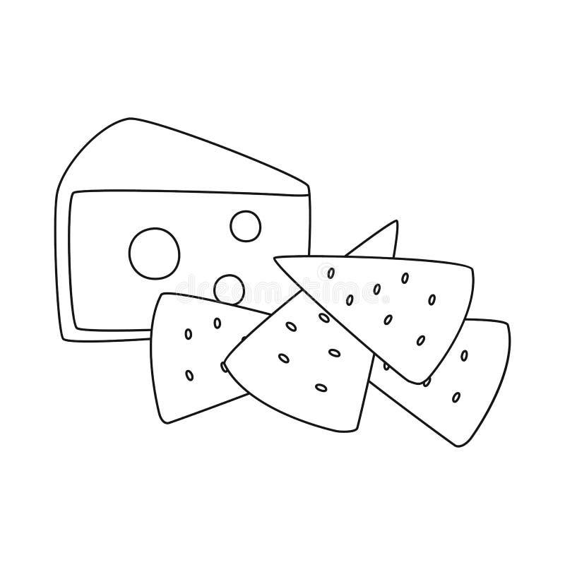 Vectorillustratie van cracker en voorgerechtpictogram Reeks van cracker en lactisch voorraadsymbool voor Web royalty-vrije illustratie