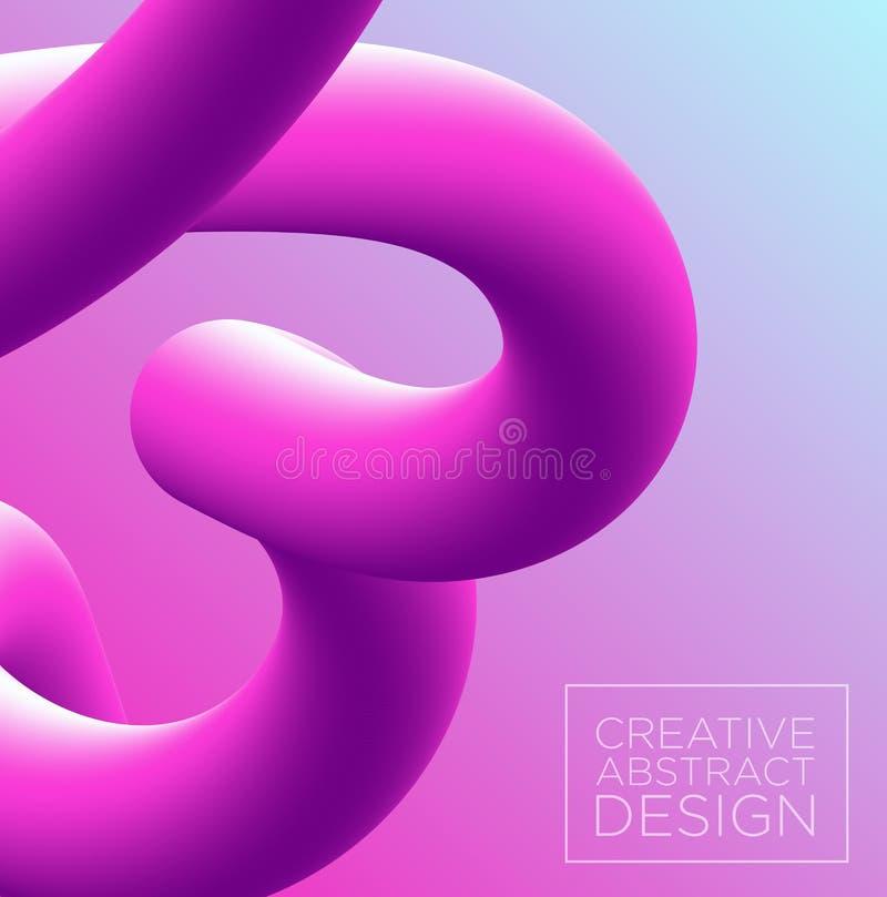 Vectorillustratie van 3d abstracte achtergrond in roze en violette kleuren, imitatie van het mengsel 3D effect van de neongradiën royalty-vrije illustratie