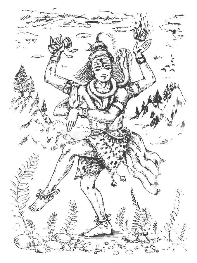 Vectorillustratie van dansend Lord Shiva, Indische God van Hindoes voor Shivratri in Nataraja-vorm royalty-vrije illustratie