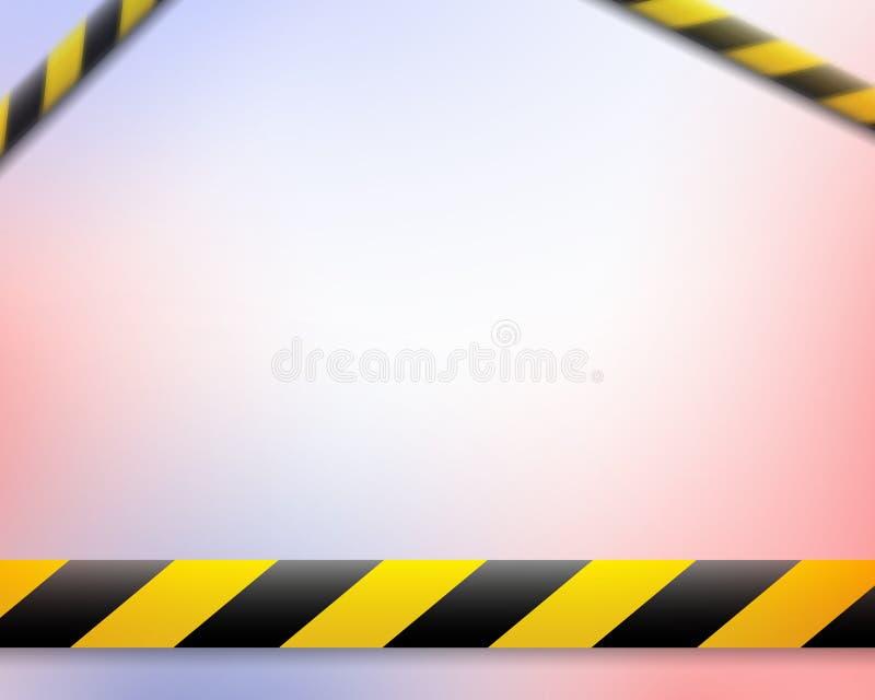 Vectorillustratie van de aandachtslijn De gele zwarte banden van de politiewaarschuwing, het schermen Het Teken van het gevaar Kr stock illustratie