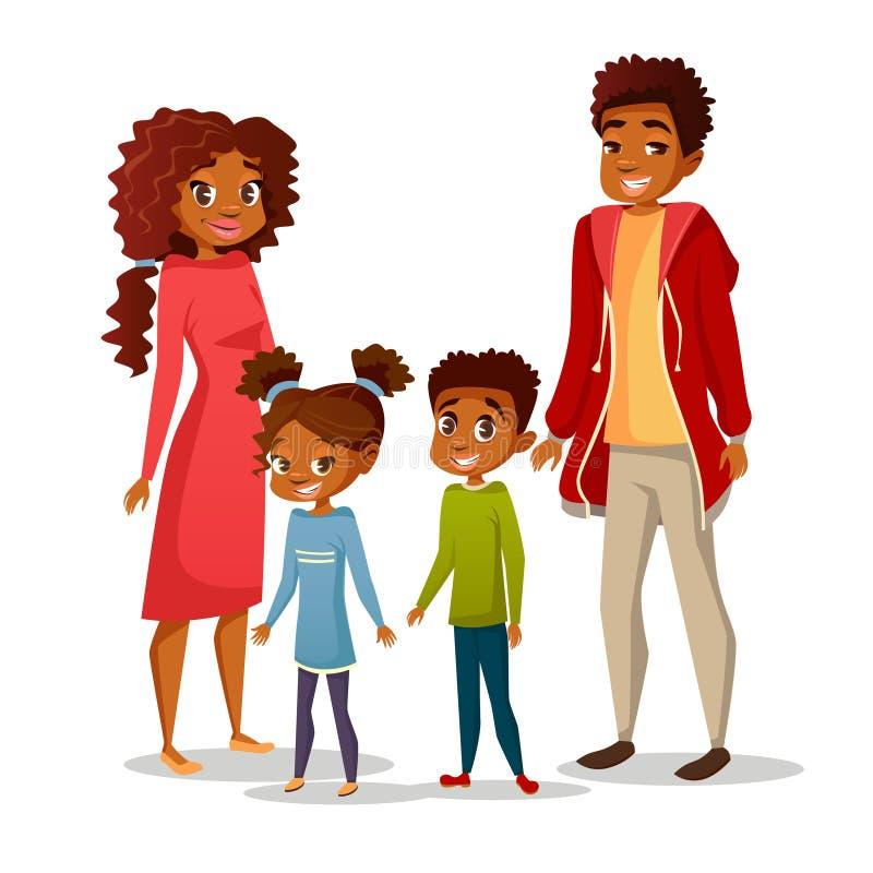 Vectorillustratie van de Afro de Amerikaanse familie stock illustratie
