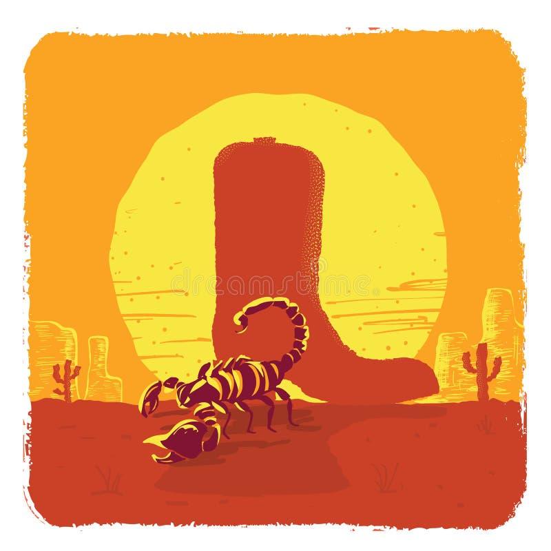 Vectorillustratie van de Amerikaanse woestijn van Texas met cowboylaars en schorpioen vector illustratie