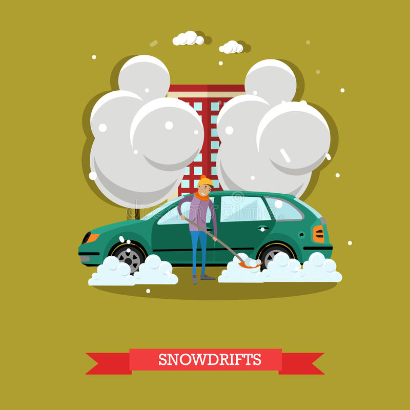 Vectorillustratie van de auto van de jongensopheldering van sneeuw, vlakke stijl vector illustratie