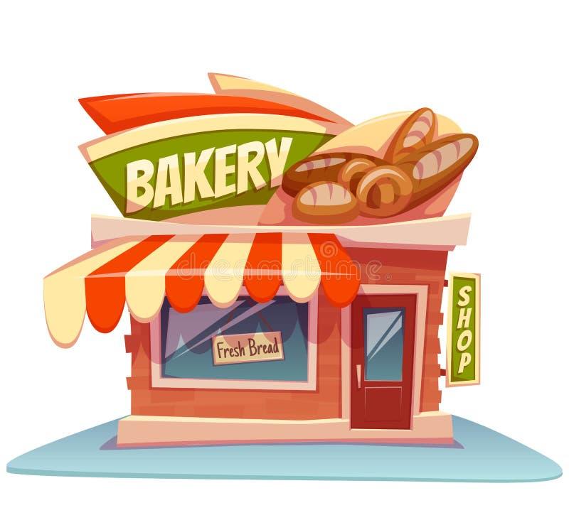 Vectorillustratie van de bakkerijbouw met helder vector illustratie