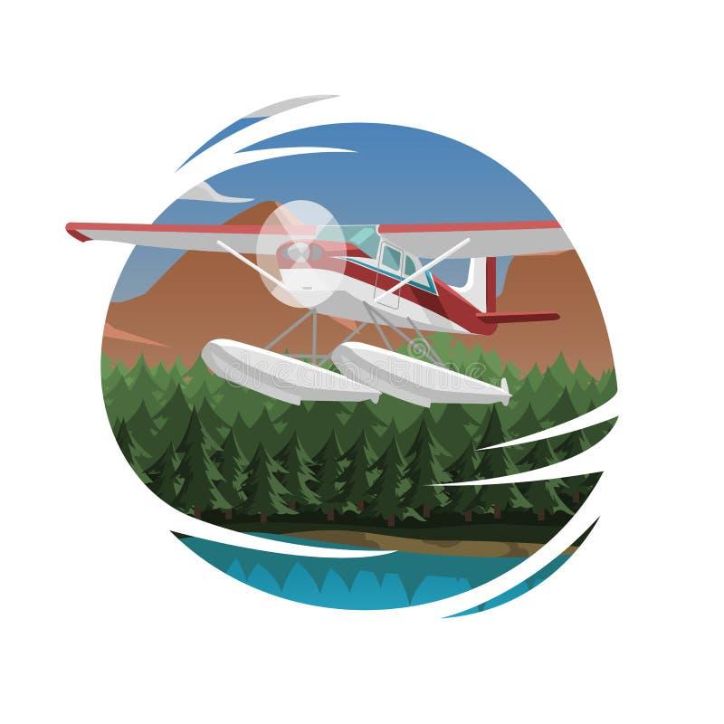 Vectorillustratie van de bergen de luchtmening Berglandschap met klein vliegtuig vector illustratie