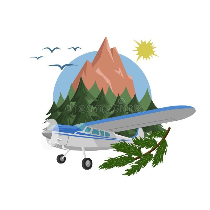 Vectorillustratie van de bergen de luchtmening Berglandschap met klein vliegtuigontwerp vector illustratie