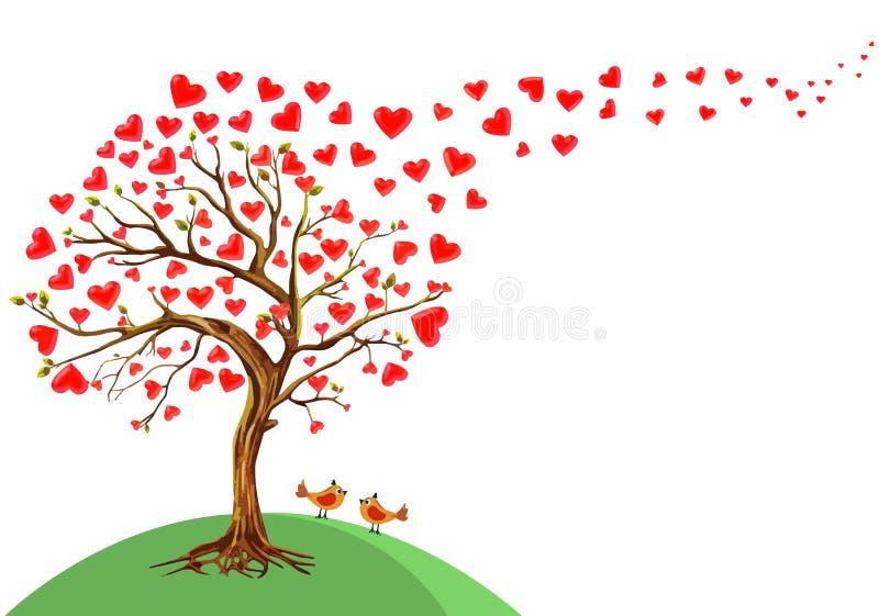 Vectorillustratie van de boom van harten vector illustratie