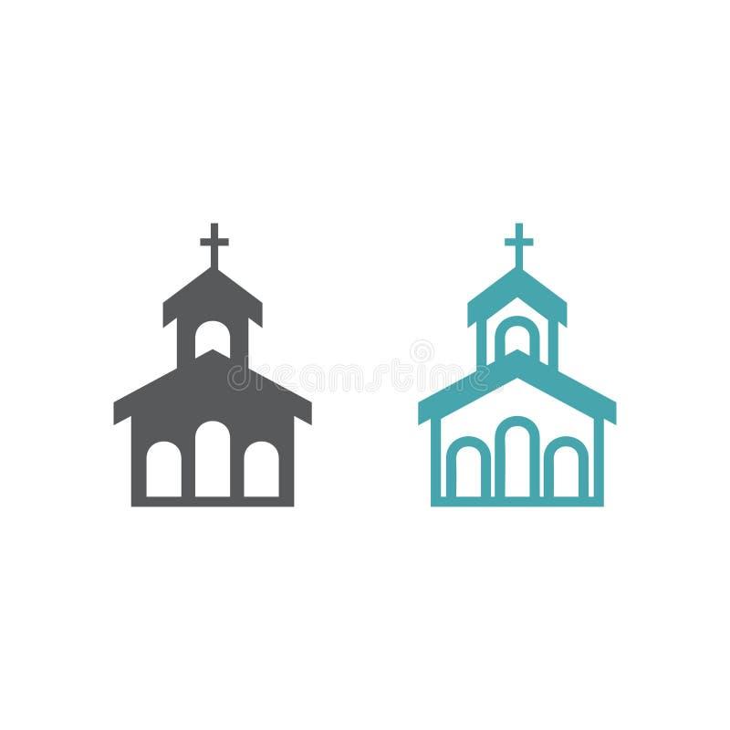 Vectorillustratie van de bouw van kerk stock illustratie