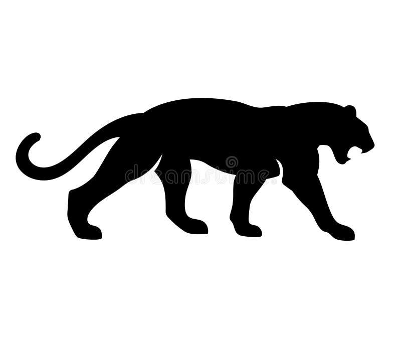 Vectorillustratie van de gebrul de Zwarte Panter Ge?soleerdj op witte achtergrond vector illustratie