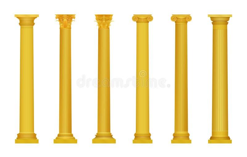 Vectorillustratie van de gouden realistische hoog gedetailleerde Griekse oude kolommen van Rome Luxe gouden kolom royalty-vrije illustratie
