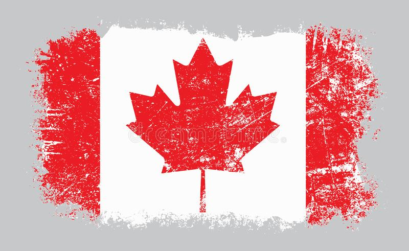 Vectorillustratie van de Grunge de oude Canadese vlag vector illustratie