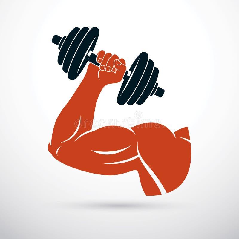 Vectorillustratie van de holdingsdomoor van het bodybuilder spierwapen stock illustratie