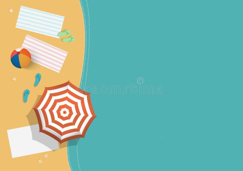 Vectorillustratie van de hoogste kust van het meningsstrand met water, paraplu, bal, sandals en strandhanddoeken royalty-vrije illustratie