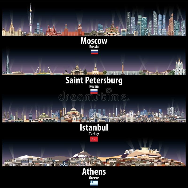 Vectorillustratie van de horizonnen van Moskou, van Heilige Petersburg, van Istanboel en van Athene bij nacht met heldere stadsli royalty-vrije illustratie