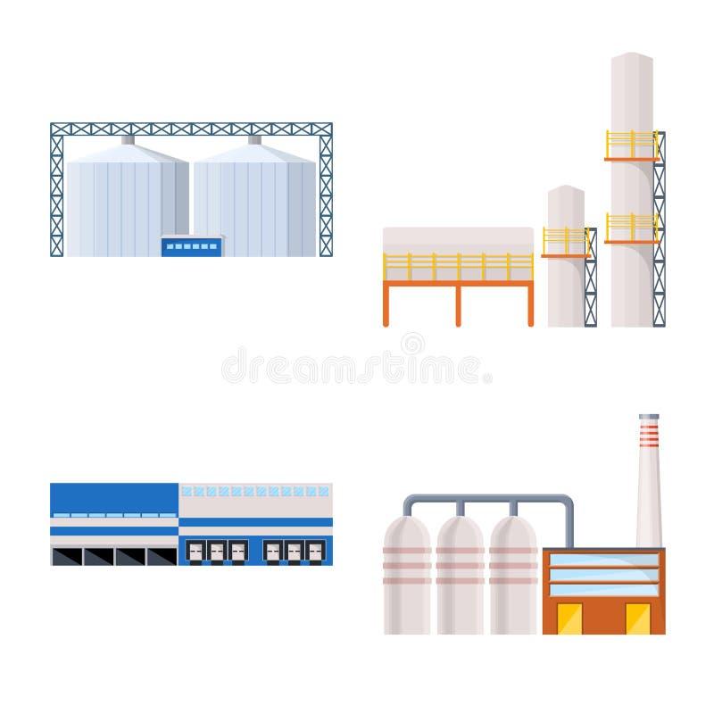 Vectorillustratie van de industrie en de bouwsymbool Inzameling van de industrie en bouw vectorpictogram voor voorraad royalty-vrije illustratie