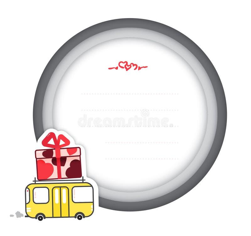 Vectorillustratie van de kaart van de de daggift van Valentine met een gele bus die een grote gift met rode harten draagt stock foto's