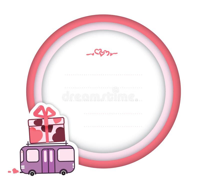 Vectorillustratie van de kaart van de de daggift van Valentine met een purpere bus die een grote gift met harten draagt royalty-vrije stock fotografie