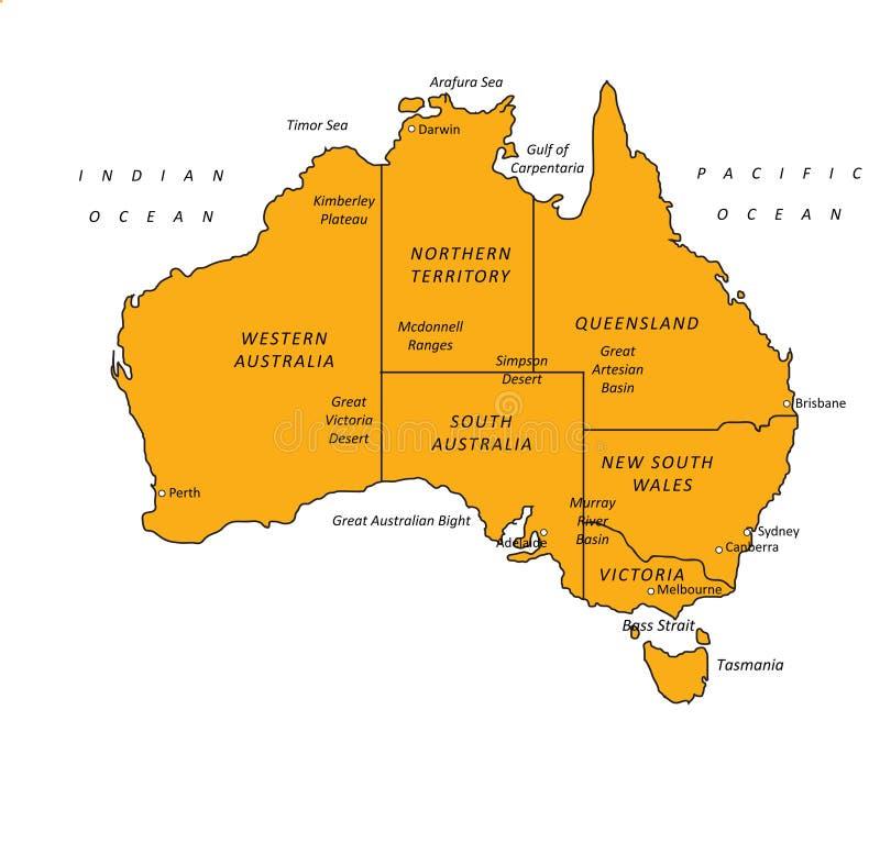 VectorIllustratie van de Kaart van Australië de Oranje royalty-vrije illustratie