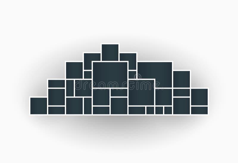 Vectorillustratie van de kaders van de fotocollage voor presentaties, fotomontering in de vorm van een stad malplaatje Het voorwe royalty-vrije illustratie