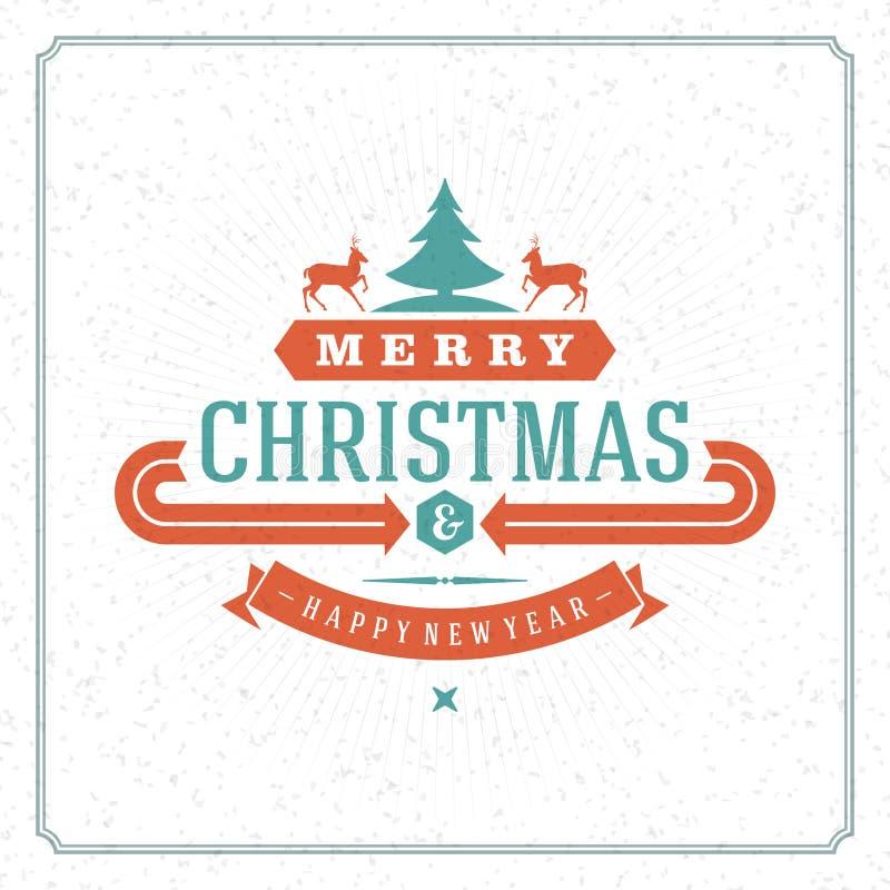 Vectorillustratie van de Kerstmis retro groet vard stock illustratie