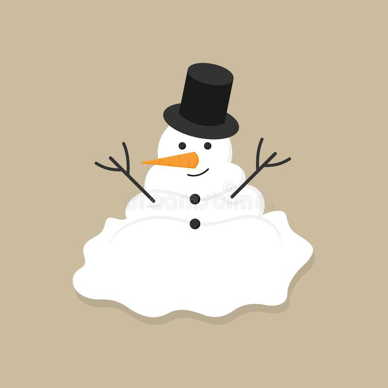 Vectorillustratie van de Kerstmis de de winter gesmolten sneeuwman royalty-vrije illustratie