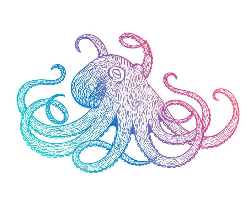 Vectorillustratie van de kunststijl van de octopuslijn Ontwerp voor t-shirt, affiches vector illustratie