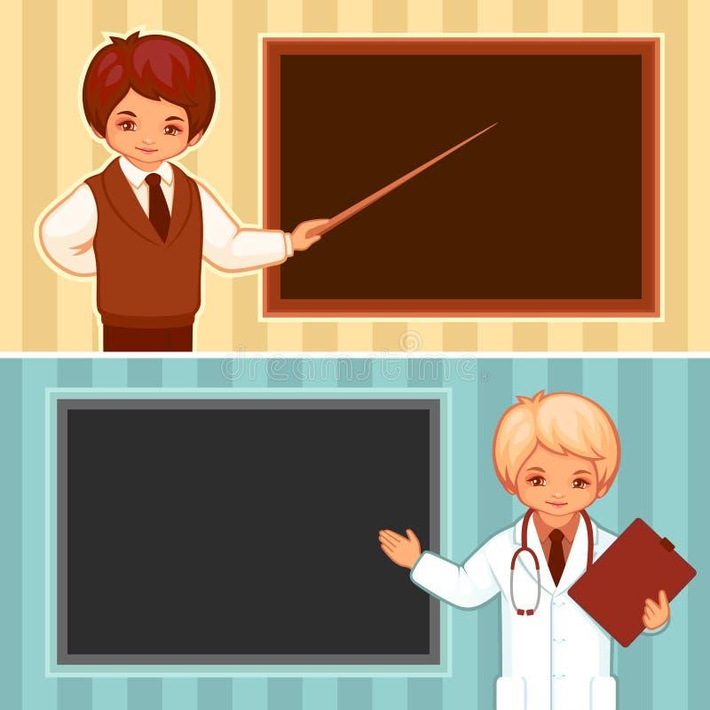 Vectorillustratie van de leraar en de arts vector illustratie