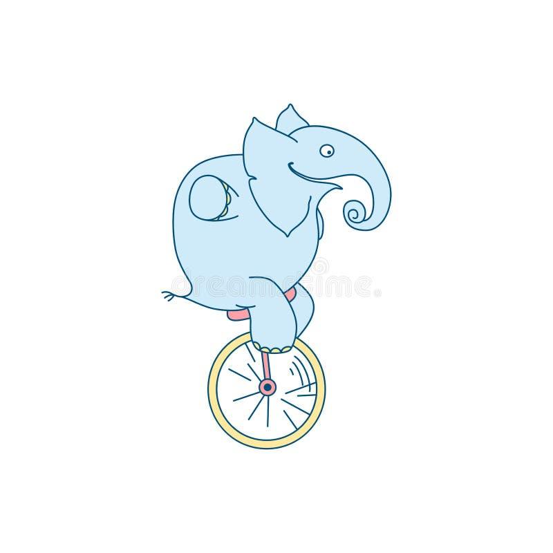 Vectorillustratie van de leuke clown van de beeldverhaalolifant op unicycle stock illustratie
