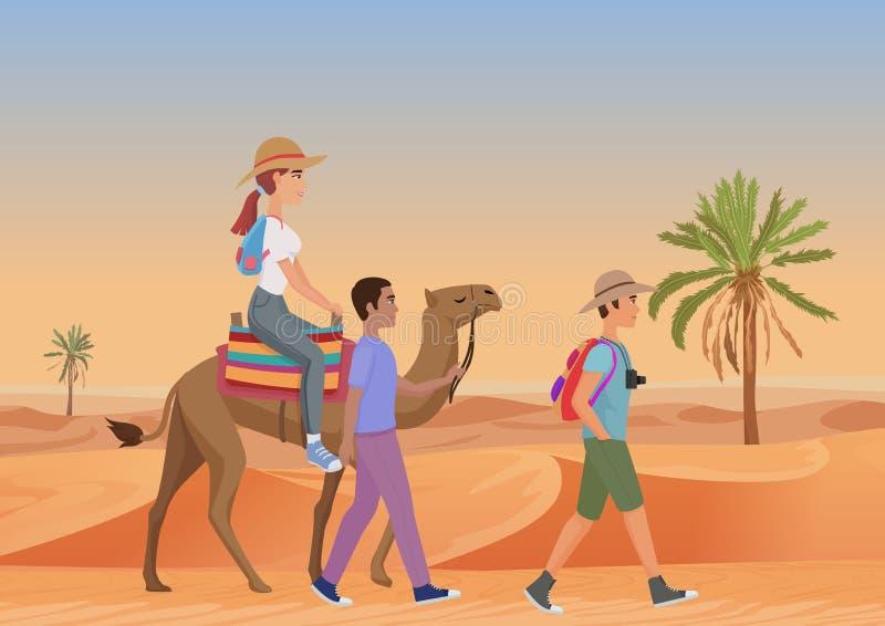 Vectorillustratie van de mens die met gids en vrouwen het berijden kameel in woestijn lopen royalty-vrije illustratie