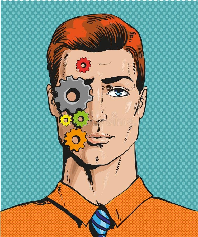 Vectorillustratie van de mens met tandraderen op gezicht, pop-art vector illustratie