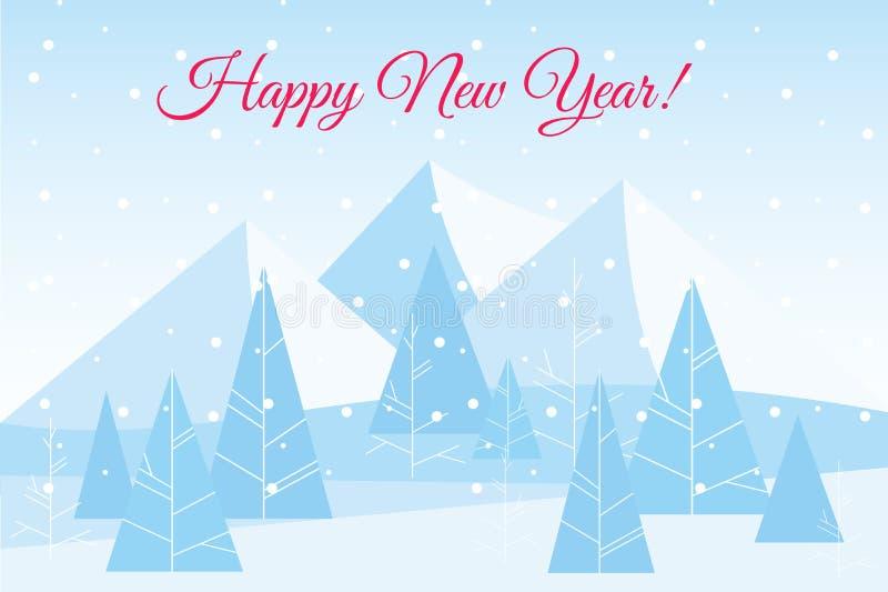 Vectorillustratie van de mooie Chrismas-achtergrond van het de winter vlakke landschap met bomen en bergen De nieuwe jaarwinter vector illustratie