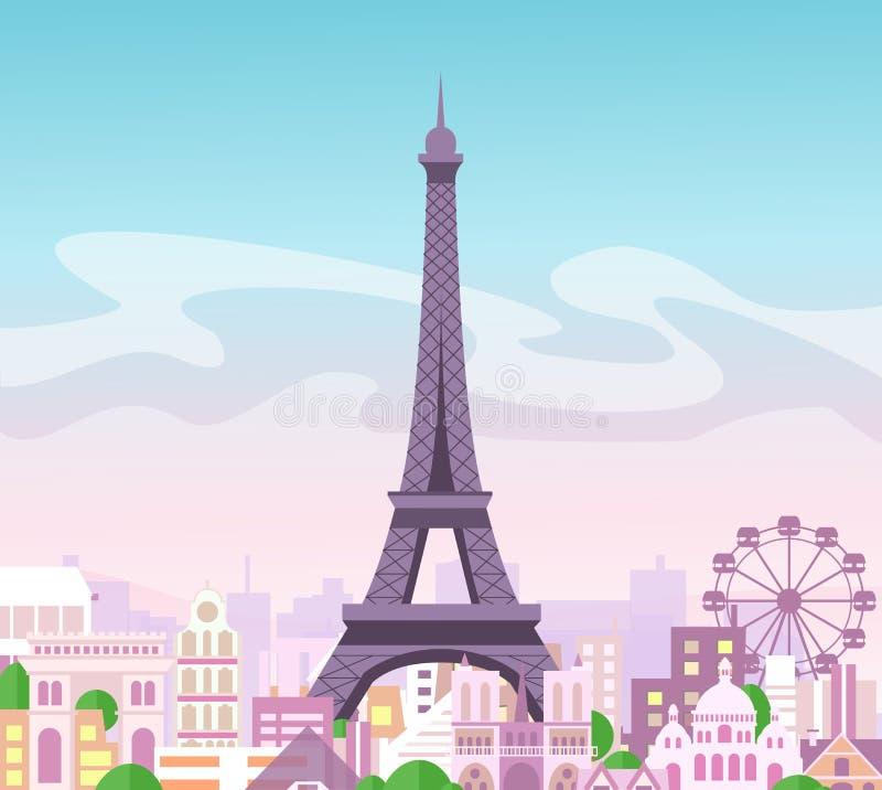 Vectorillustratie van de mooie mening van de horizonstad met gebouwen en bomen in pastelkleuren Symbool van Parijs in vlakte royalty-vrije illustratie