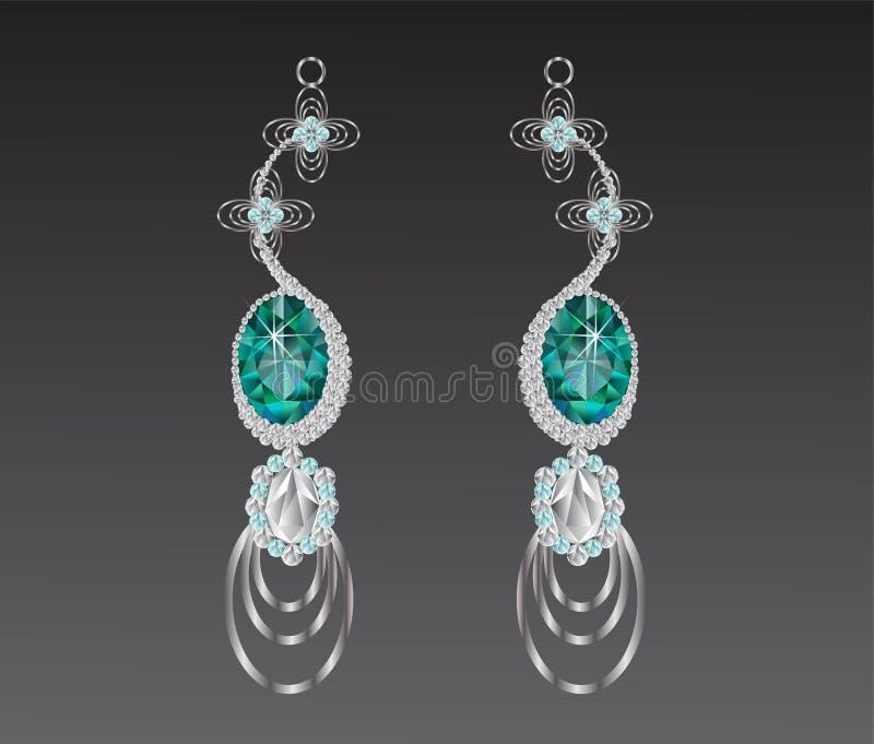 Vectorillustratie van de oorringen de turkooise diamant royalty-vrije illustratie