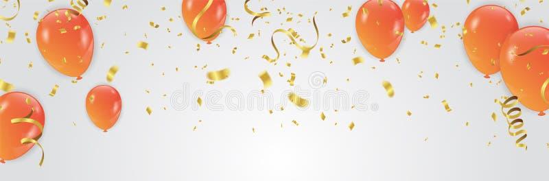 Vectorillustratie van de Oranje achtergrond van de Ballonsviering te stock illustratie