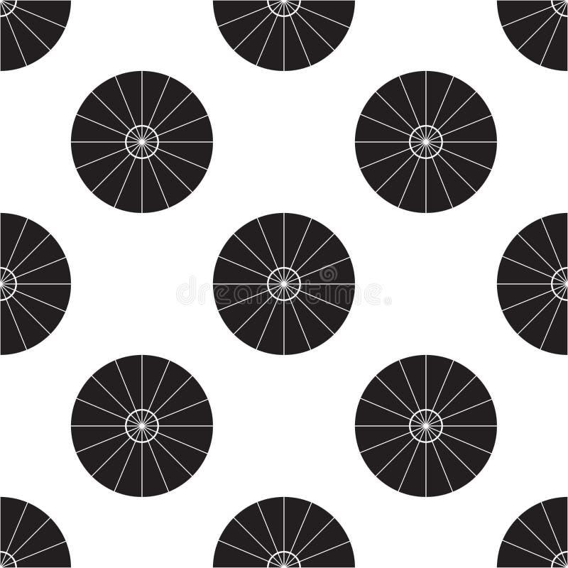 Vectorillustratie van de paraplu de hoogste mening Parasol Vlak Teken Naadloos op Witte Achtergrond stock illustratie