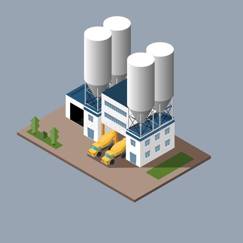 Vectorillustratie van de productie van het concrete concrete vervoer van ladings concrete mixers vector illustratie