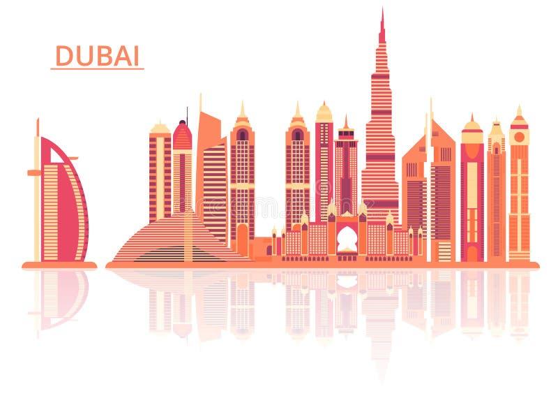 Vectorillustratie van de stad van Doubai royalty-vrije illustratie