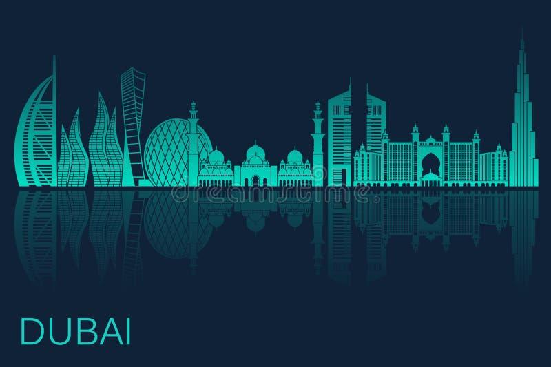 Vectorillustratie van de stad van Doubai Voorraadvector vector illustratie