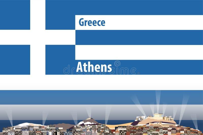Vectorillustratie van de stadshorizon van Athene met vlag van Griekenland op achtergrond stock illustratie