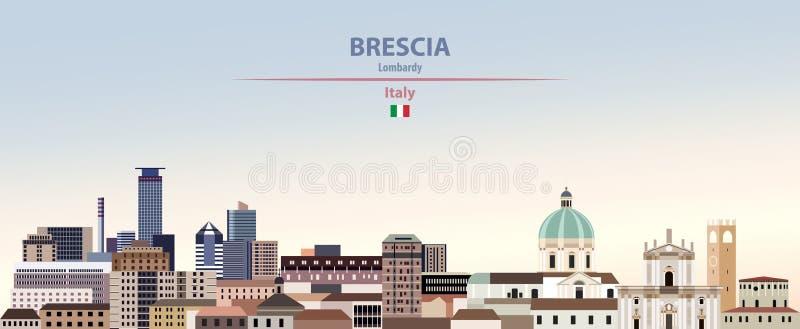 Vectorillustratie van de stadshorizon van Brescia op kleurrijke de hemelachtergrond van de gradiënt mooie dag met vlag van Italië stock illustratie