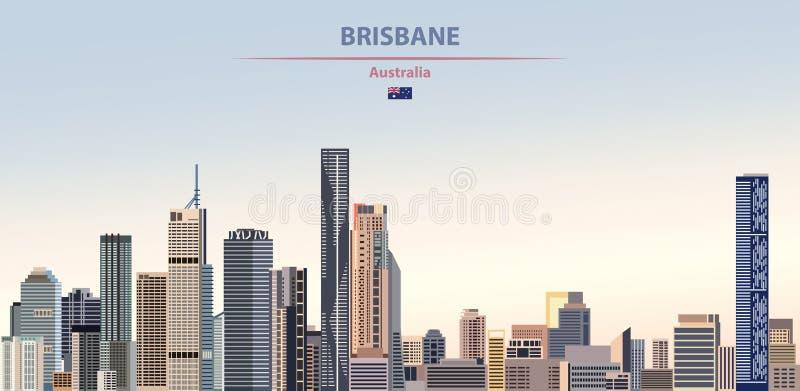 Vectorillustratie van de stadshorizon van Brisbane op kleurrijke de tijdachtergrond van de gradiënt mooie dag stock illustratie