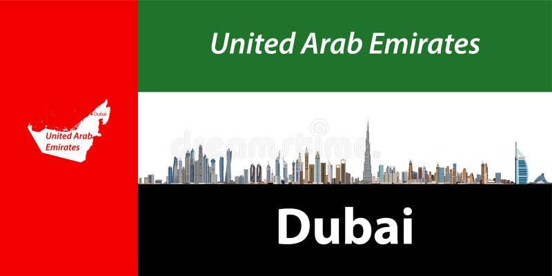 Vectorillustratie van de stadshorizon van Doubai met vlag en kaart van Verenigde Arabische Emiraten op achtergrond royalty-vrije illustratie