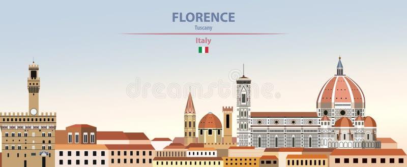 Vectorillustratie van de stadshorizon van Florence op kleurrijke de hemelachtergrond van de gradiënt mooie dag met vlag van Itali vector illustratie