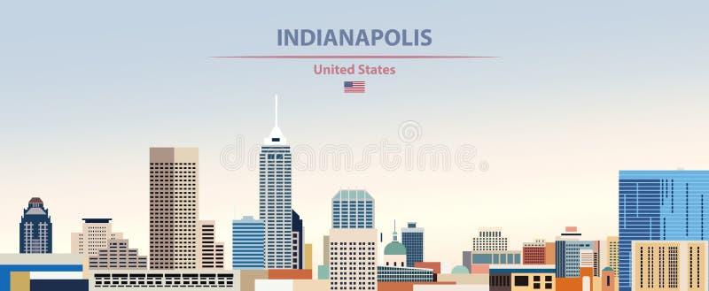 Vectorillustratie van de stadshorizon van Indianapolis op kleurrijke de hemelachtergrond van de gradiënt mooie dag met vlag van V vector illustratie