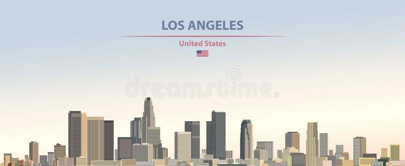 Vectorillustratie van de stadshorizon van Los Angeles op kleurrijke de hemelachtergrond van de gradiënt mooie dag met vlag van Ve royalty-vrije illustratie