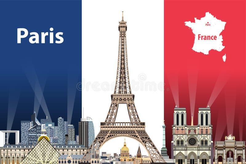 Vectorillustratie van de stadshorizon van Parijs met vlag van Frankrijk op achtergrond royalty-vrije illustratie