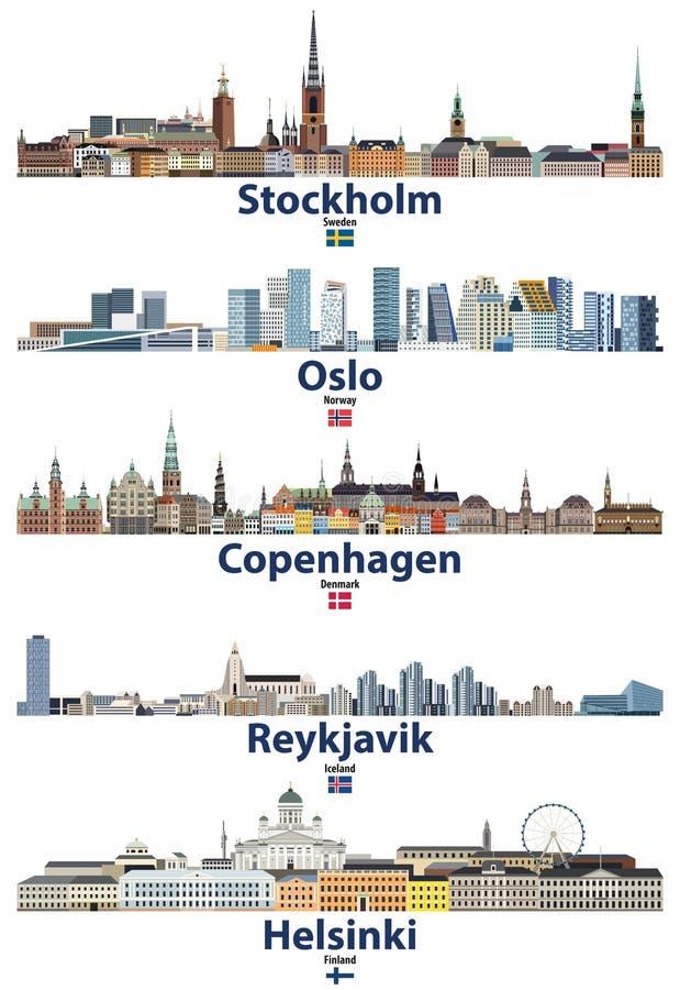 Vectorillustratie van de stedenhorizonnen van Stockholm, van Oslo, van Kopenhagen, Reykjavik en van Helsinki met vlaggen van Zwed vector illustratie