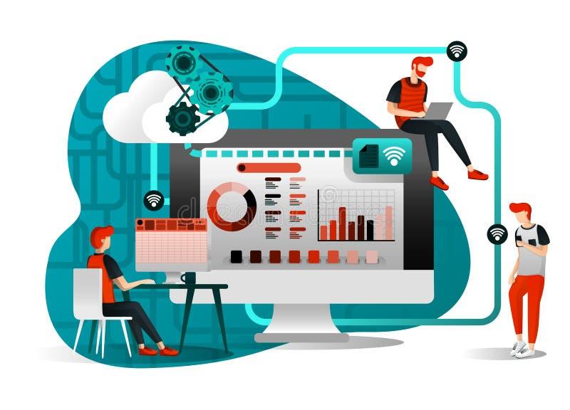 Vectorillustratie van de technologie van de dossieropslag, het delen, verre arbeider, de netwerkindustrie 4 mensen die het werkdo vector illustratie