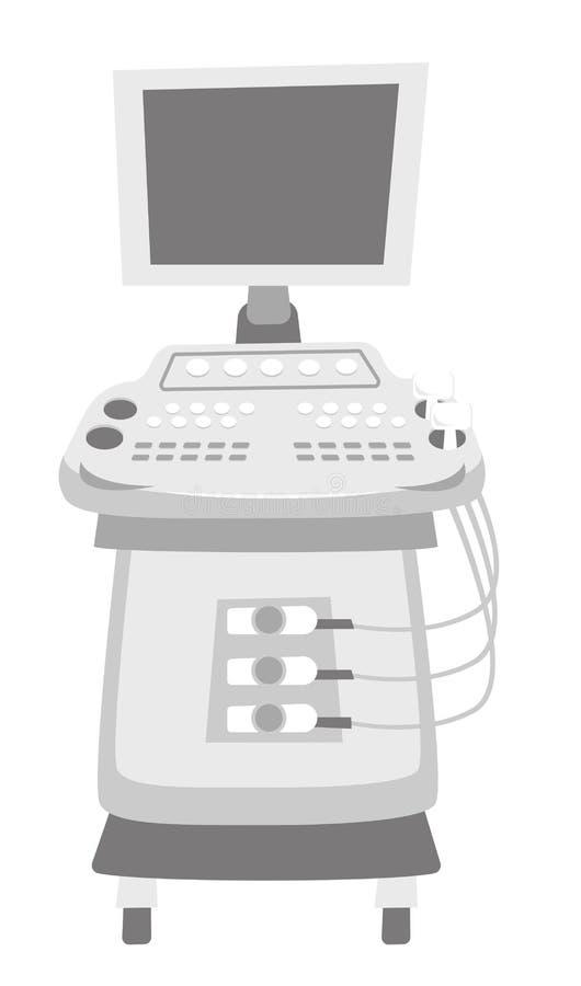 Vectorillustratie van de ultrasone klank de kenmerkende machine stock illustratie