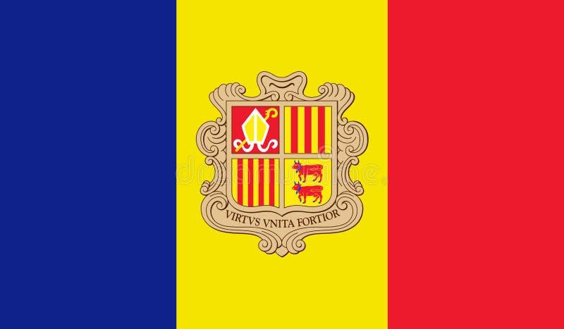 Vectorillustratie van de Vlag van Andorra vector illustratie